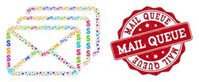 Composición de la cola del correo del mosaico y sello rasguñado para las ventas ilustración del vector