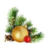 Composición de la esquina de la Navidad con las ramitas del pino y el decorat del día de fiesta Fotografía de archivo libre de regalías