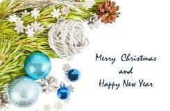 Composición de la Feliz Año Nuevo y de la Feliz Navidad Fotos de archivo