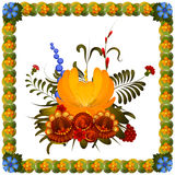 Composición de la flor en el fondo blanco Imagen de archivo