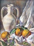 Composición de la fruta pintada con la pintura de aceite Imágenes de archivo libres de regalías