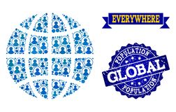 Composición de la gente del globo del mosaico y del sello texturizado stock de ilustración