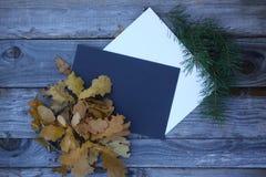 Composición de la hoja del otoño con las hojas de papel Imágenes de archivo libres de regalías