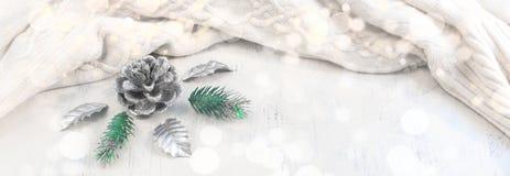 Composición de la Navidad de la bandera con los elementos decorativos Fotos de archivo libres de regalías