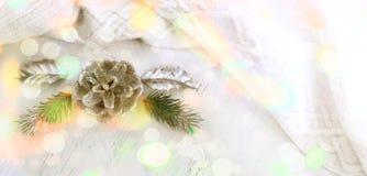 Composición de la Navidad de la bandera con los elementos decorativos Foto de archivo libre de regalías