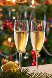 Composición de la Navidad con champán Imagen de archivo libre de regalías