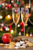 Composición de la Navidad con champán Fotos de archivo
