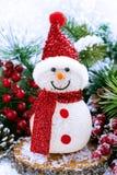 Composición de la Navidad con el muñeco de nieve, vertical Foto de archivo libre de regalías