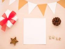 Composición de la Navidad con el regalo, espacio en blanco del Libro Blanco, conos del pino, Imagenes de archivo
