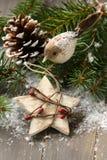 Composición de la Navidad con la estrella y la rama del árbol de navidad Imagen de archivo