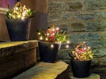Composición de la Navidad con las bombillas (diseño de la calle del bui Imagen de archivo libre de regalías