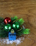 Composición de la Navidad con las decoraciones del día de fiesta Fotografía de archivo libre de regalías