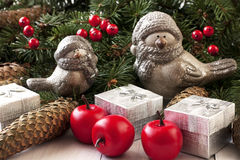 Composición de la Navidad con los pájaros del invierno Imagen de archivo