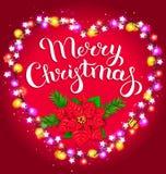 Composición de la Navidad con la poinsetia y el spruc luminosos de la guirnalda Fotografía de archivo libre de regalías