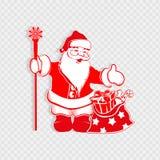 Composición de la Navidad con una silueta blanca roja de Santa Claus con un personal y un bolso con los regalos ilustración del vector