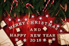 Composición de la Navidad, concepto de Año Nuevo Cajas de sorpresas, Foto de archivo