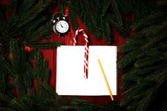 Composición de la Navidad, concepto de Año Nuevo Ramas de Christma Imagen de archivo