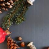 Composición de la Navidad conos Ramas del abeto Imagen de archivo libre de regalías