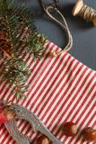 Composición de la Navidad conos Ramas del abeto Imagenes de archivo