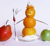 Composición de la Navidad del friut anaranjado del muñeco de nieve Foto de archivo libre de regalías