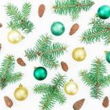 Composición de la Navidad de los árboles del invierno, de los conos del pino y de las bolas de la Navidad en el fondo blanco Ende Fotos de archivo libres de regalías