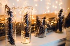 Composición de la Navidad o del Año Nuevo con las guirnaldas en pequeños palmatorias y conos de cristal del pino, barras de mader Imágenes de archivo libres de regalías