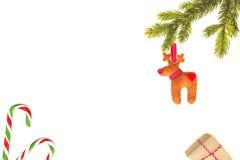Composición de la Navidad Rama de árbol verde de abeto, bastones de caramelo, regalos de Navidad y decoración hecha a mano del fi Imagen de archivo libre de regalías