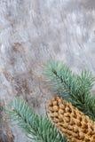 Composición de la Navidad: Ramas frescas de la picea azul con los conos en fondo de madera envejecido Visión superior fotos de archivo libres de regalías