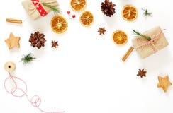 Composición de la Navidad Regalo, decoración de la Navidad Fotografía de archivo