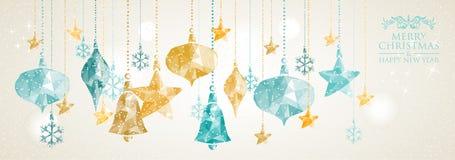 Composición de las bolas de la ejecución de la bandera de la Navidad del vintage imágenes de archivo libres de regalías