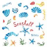 Composición de las conchas marinas de la acuarela mano-dibujo Fotos de archivo libres de regalías