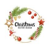 Composición de las decoraciones de la Navidad libre illustration