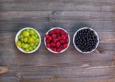 Composición de las placas con las frambuesas, uvas, pasas Imagen de archivo libre de regalías