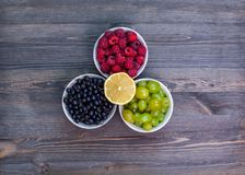 Composición de las placas con las frambuesas, uvas, pasas Fotografía de archivo libre de regalías