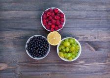 Composición de las placas con las frambuesas, uvas, pasas Fotos de archivo