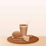 Composición de los alimentos de preparación rápida del vintage. Fondo del vector Fotografía de archivo libre de regalías