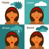 Composición de los iconos de las emociones del carácter de la mujer de la historieta Foto de archivo