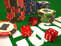 Composición de los microprocesadores de los dados y del casino ilustración del vector
