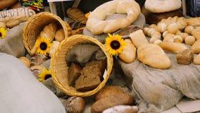 Composición de los panes de centeno, de la harina del bolso y de los baguettes con los girasoles en la tabla de madera Fotografía de archivo libre de regalías