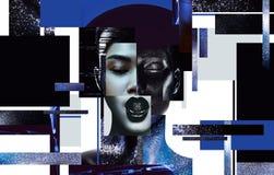 Composición de los retratos de las mujeres con arte de cuerpo negro y azul ilustración del vector