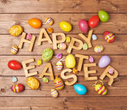 Composición de madera de la letra de Pascua Foto de archivo libre de regalías