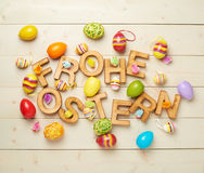 Composición de madera de la letra de Pascua Imagenes de archivo