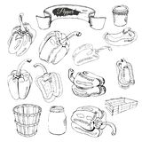 Composición de pimientas y de otros objetos exhaustos de la mano monocromático stock de ilustración