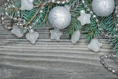 Composición de plata de la Navidad Imagenes de archivo