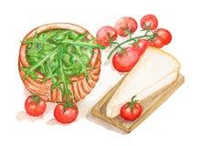 Composición de tomates, del queso y del arugula stock de ilustración
