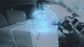 Composición de Warehouse del hombre de entrega en una furgoneta combinada con la animación de la tierra conectada almacen de metraje de vídeo