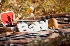 Composición decorativa del otoño con el ` del bebé del ` de la palabra Imágenes de archivo libres de regalías
