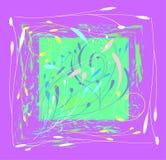 Composición decorativa en el color fucsia del rectángulo de elementos herbarios ilustración del vector