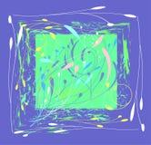 Composición decorativa en el rectángulo púrpura de stock de ilustración