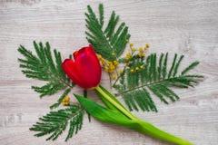 composición decorativa floral de la flor del diseño de la Aún-vida hecha de mimosas en un fondo de madera Foto de archivo